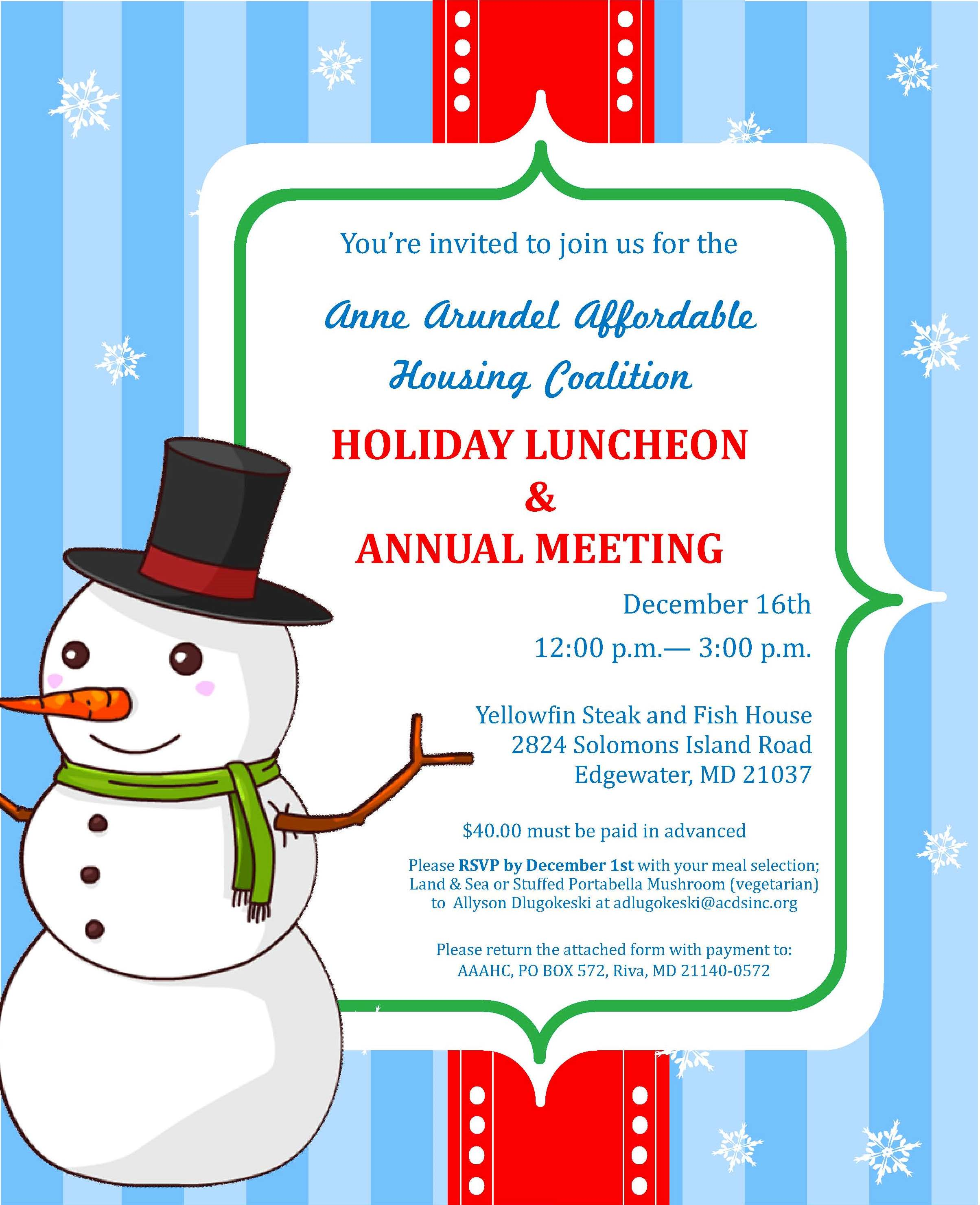 Anne Arundel Affordable Housing Coalition Holiday Luncheon ...