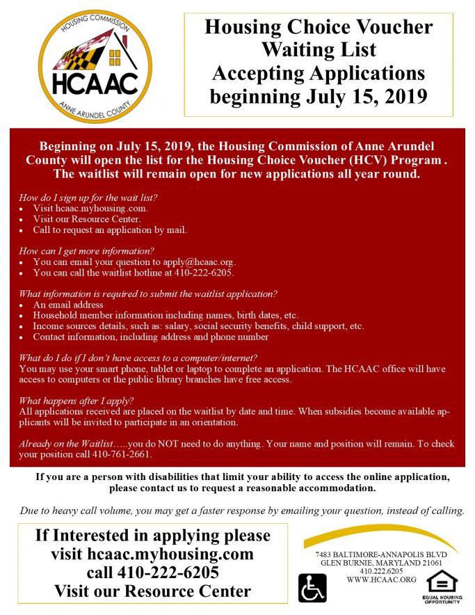 Housing Choice Voucher Waitlist Opens July 15, 2019