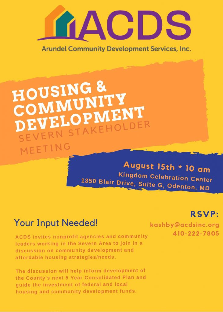 Flier with details about the Severn Stakeholder Housing and Community Development Meeting