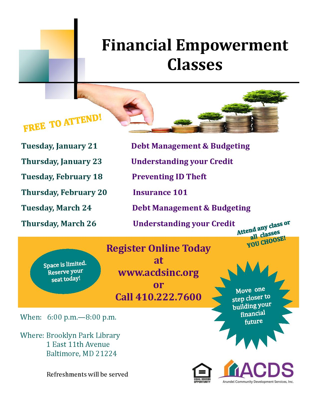 Flyer with dates for Financial Empowerment Courses